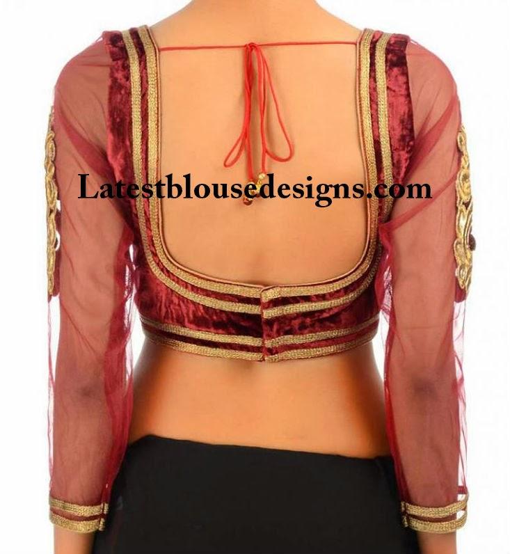 velvet saree blouse designs