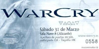 entrada de concierto de warcry