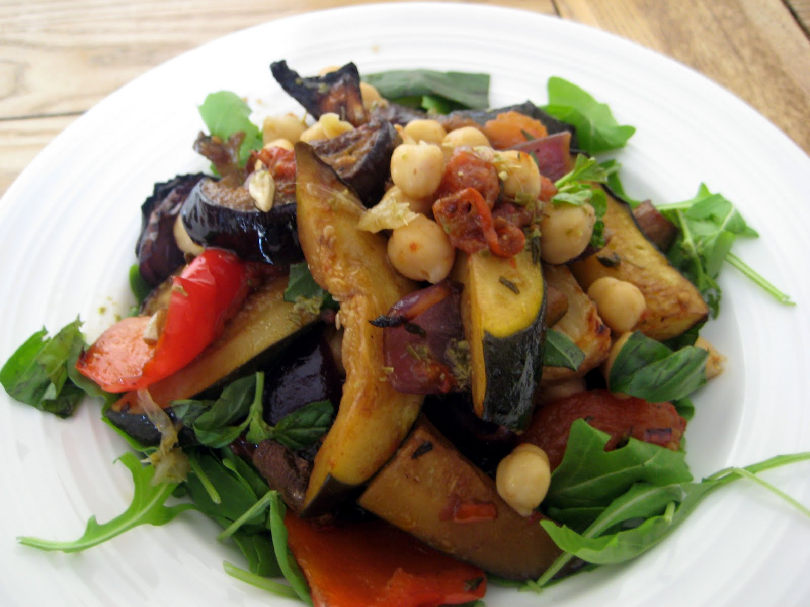 roast mediterranean vegetable salad with roasted garlic pesto dressing