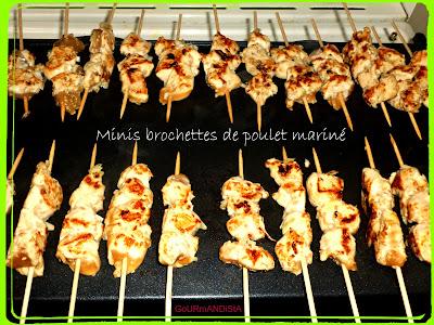 Image Minis brochettes de poulet mariné