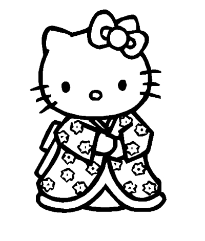 a desenhar hello kitty de vestidos colorir