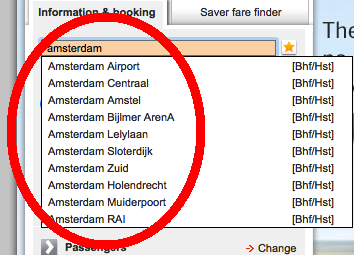 Tampilan web bahn.de: pilihan stasiun di Amsterdam