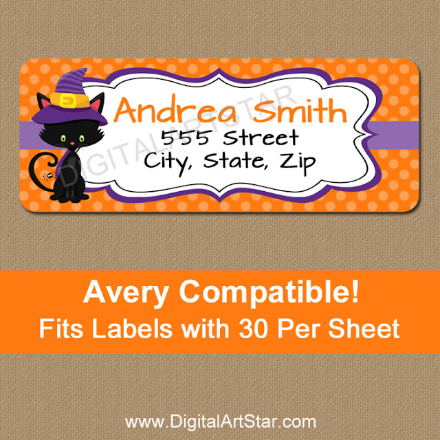 printable halloween cat return address labels
