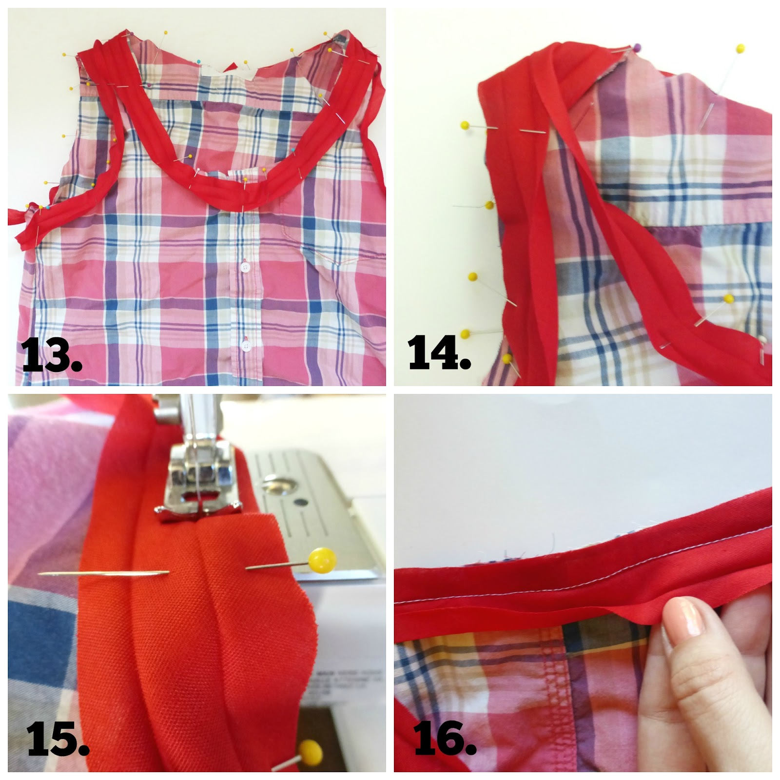 men's button down shirt to women's tank top refashion tutorial