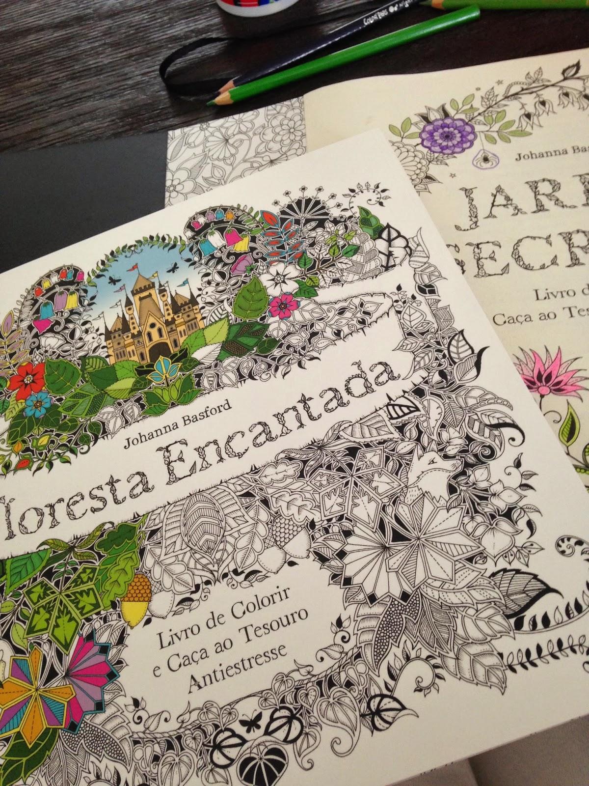 livros de colorir ,Jardim Secreto e Floresta Encantada