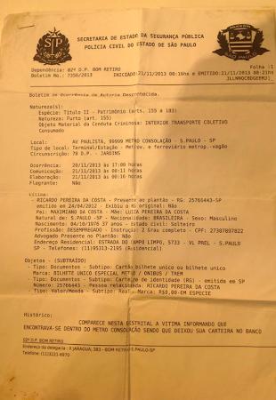 FURTO DE BILHETE DE DEFICIENTE COM COLABORACAO DE FUNCIONARIO DO METRO E NAO E O QUE TA ESCRITO AI.