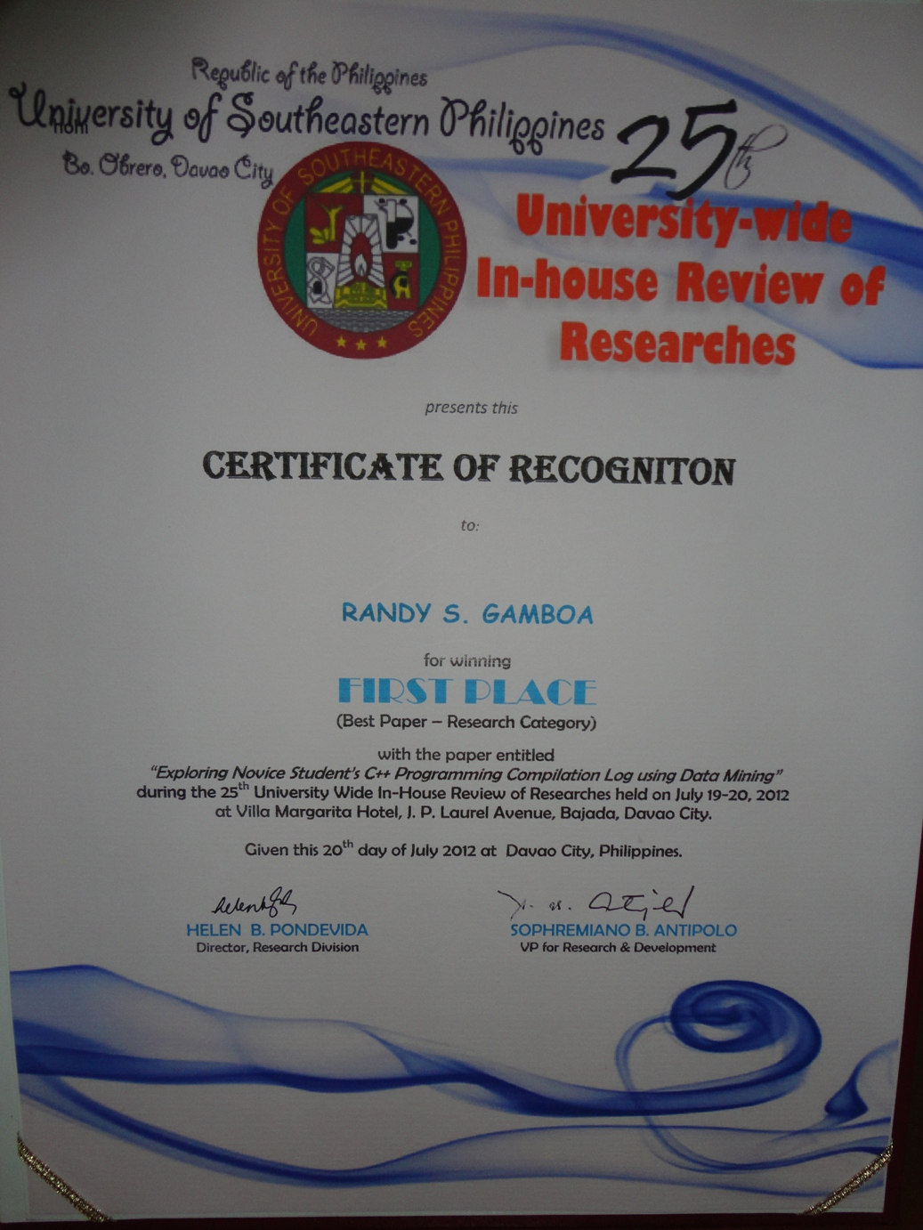 Certificate of recognition best paper 2709rsgamboa6219 certificate of recognition best paper yelopaper Image collections