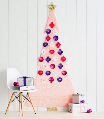 Craftsmas Day 5: DIY Fringed Tree Advent Calendar and Sequin Ornaments | Confetti Pop (images: Michael Haug) - Tuck sweet treats in these fab sequin pouches.