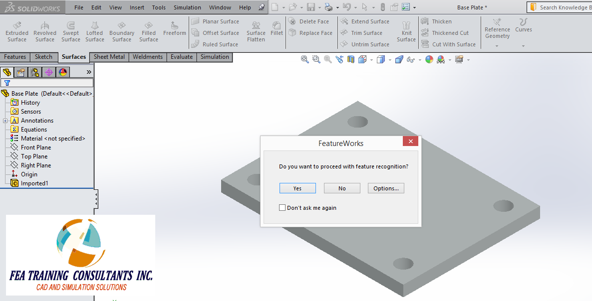 SolidWorks Feature Recognition(FEATUREWORKS)