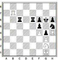 Posición ejemplo de sacrificio de desbloqueo con mate en 2, juegan blancas