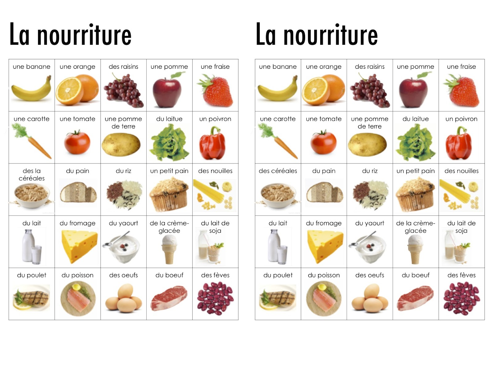 Healthy Food Names In French