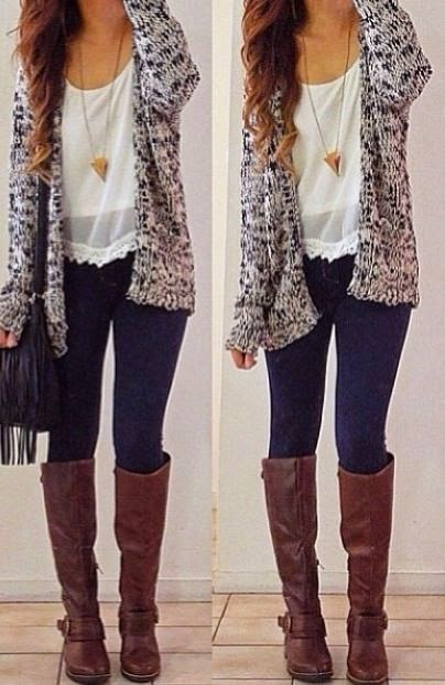 Knit cardigan+ white crep top + sheer white over shirt + pyrimid neckless + jeggings?/ skinny jeans + riding boots + messanger bag