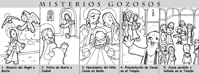 La Catequesis: Recursos Catequesis Santo Rosario para Colorear