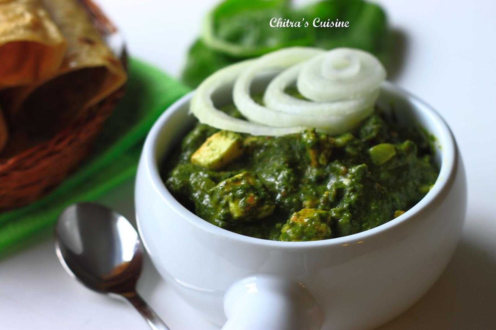 Chitra's Cuisine: Palak Paneer