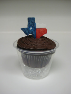 Teacher Appreciation School Subject Themed Cupcakes - Close Up of Social Studies Cupcake with Texas Fondant Topper