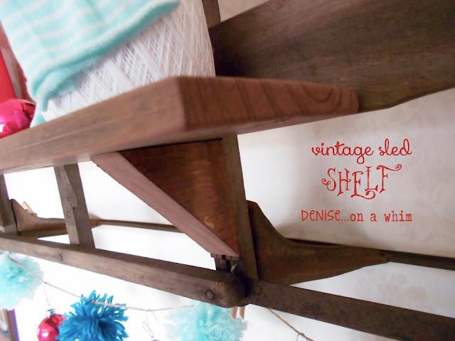 a vintage sled becomes a winter wall shelf via http:/deniseonawhim.blogspot.com