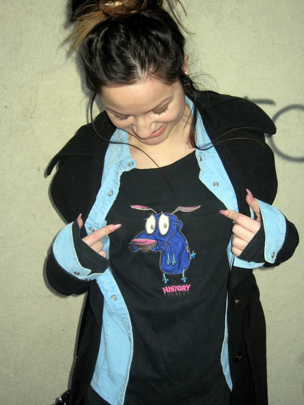 courage the cowardly dog top, blue shirt, black coat, messy bun,