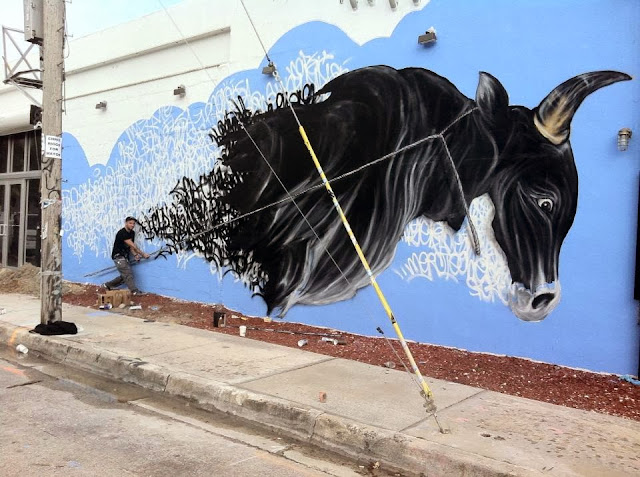 First Completed Street Art Mural by Shai Dahan In Miami For Art Basel 2013. 1