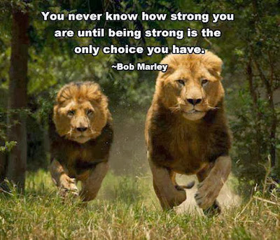 You never know how strong you are... until being strong is the only choice you have.  Bob Marley