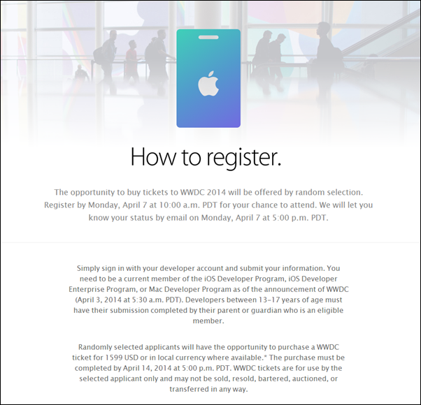 Apple WWDC 2014 Ticket Registration Procedure and Guidelines