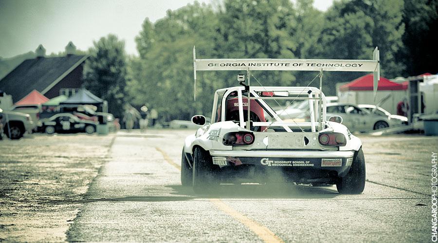 Mazda MX-5, Miata, Eunos Roadster, racing, wyścigowy samochód, duży spojler, pikes peak, tuning
