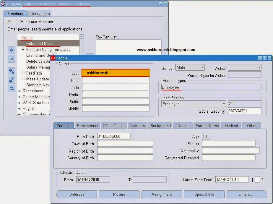 You are Not Setup as a Worker. To Access This Form You Need To Be a Worker, askHareesh blog for Oracle Apps