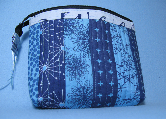 QAYG Zippered Pouch... create your own quilted fabric and make a zippered bag ~ Threading My Way