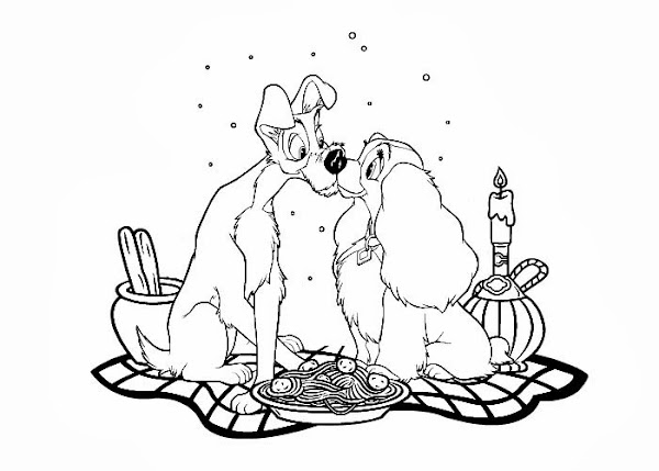 Disney Lady and Tramp Coloring Pages