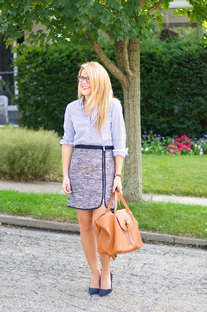 wear to work outfit with pencil skirt and button up shirt