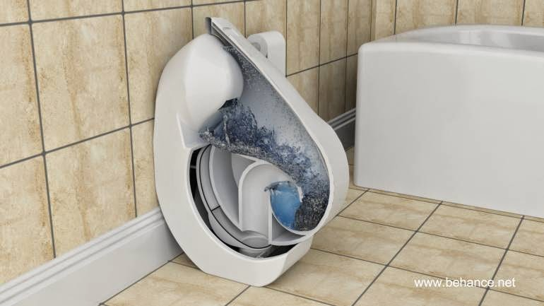 Imagen de computadora muestra un corte del inodoro en funcionamiento
