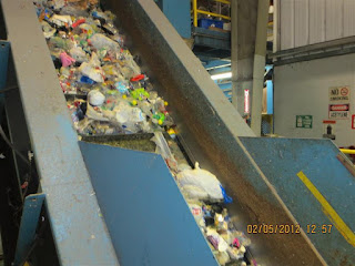 Recyclable materials on conveyer belt