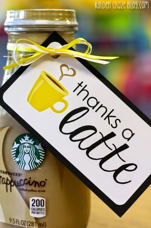 "FREE ""thanks a latte"" labels from Kinder-Craze"