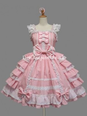Cap Sleeves Bow and Ruffle Sweet Lolita Dress
