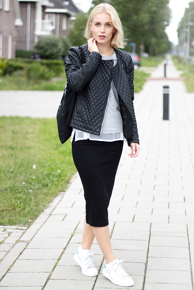 Fashion Attacks outfit ootd jersey skirt adidas Stan Smith