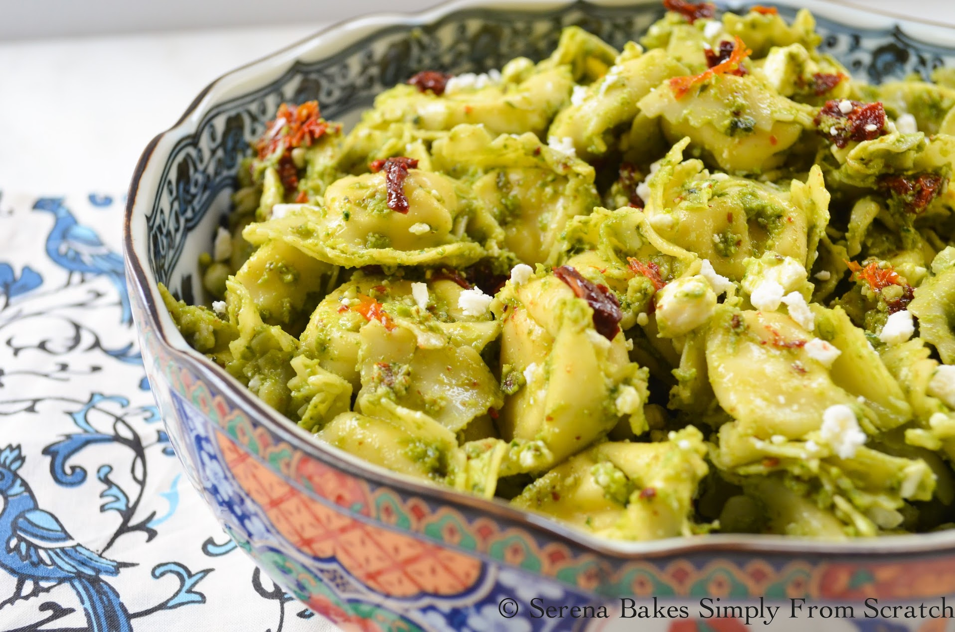 Tortellini Pesto Salad with Sun-dried Tomatoes and Feta