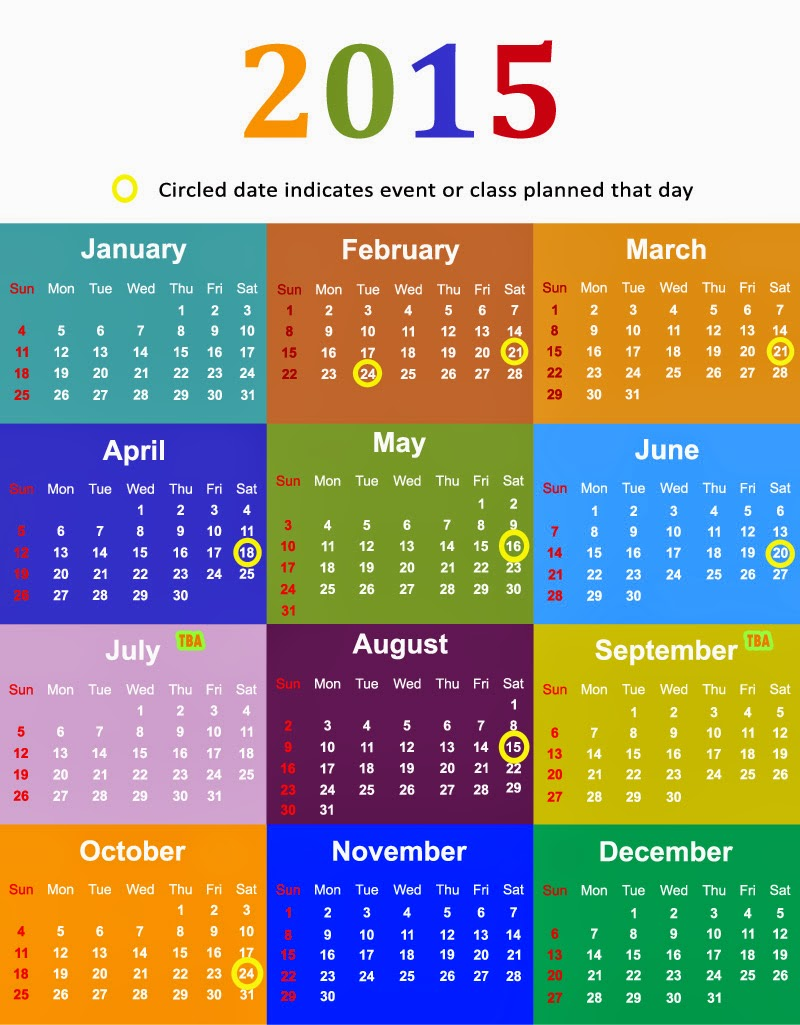 2015 Calendar for Harvest of Hope