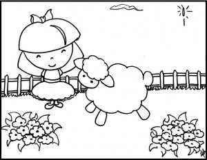Mary Had A Little Lamb Nursery Rhyme Coloring Page For