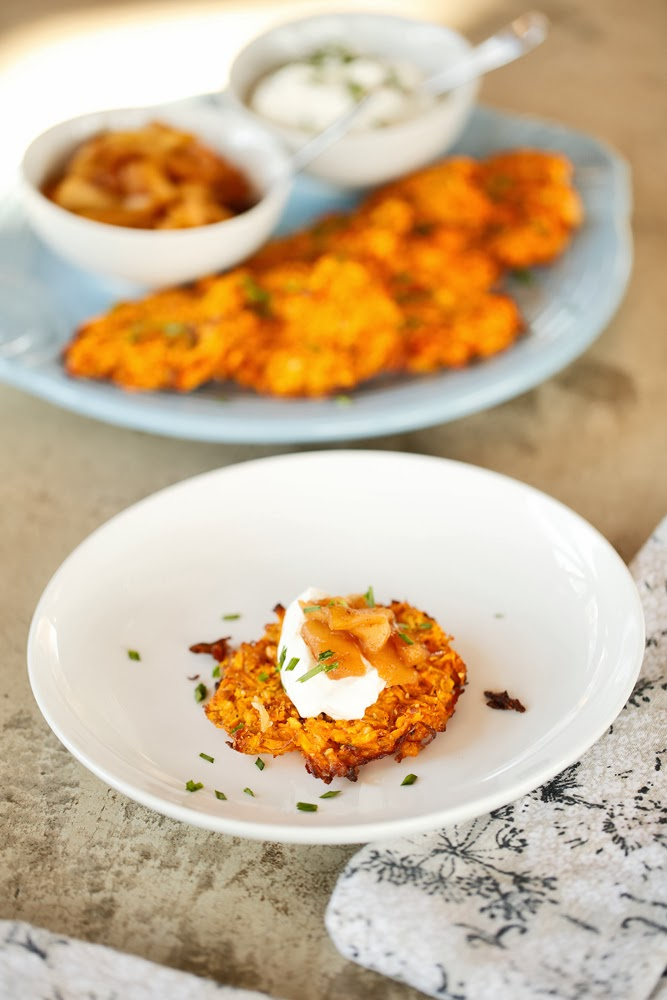 The Chubby Vegetarian: Baked Sweet Potato-Apple Latkes ...