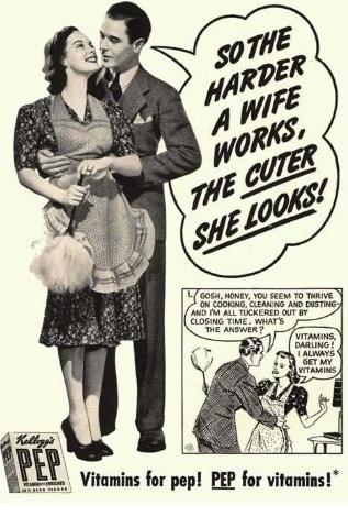 Propaganda machista dos anos 50: Vitaminas PEP veiculada nos Estados Unidos.