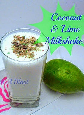 Coconut and Lime Milkshake ~ Tropical explosion ! Topped with Peppermint Crisp chocolate #Milkshakes