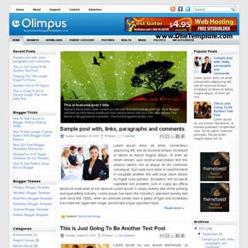 Olimpus blog template. template image slider blog. magazine blogger template style
