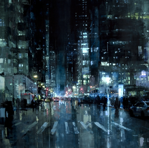 07-Manhattan-Nights-Jeremy-Mann-Figurative-Painting-in-Cityscapes-Oil-Paintings-www-designstack-co