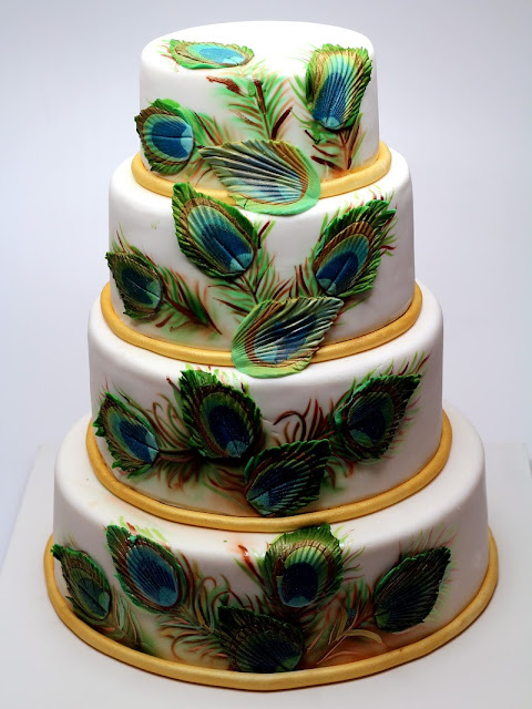 Peacock Feathers Wedding Cake in London