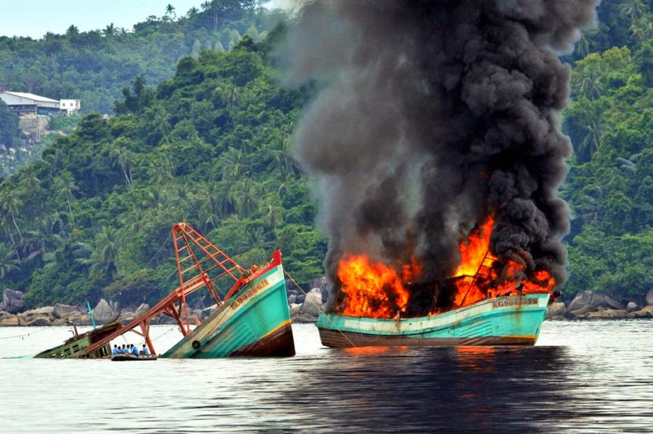 http://qz.com/346846/indonesia-is-sinking-illegal-fishing-boats-in-dramatic-fashion-and-may-be-killing-fish-in-the-process/