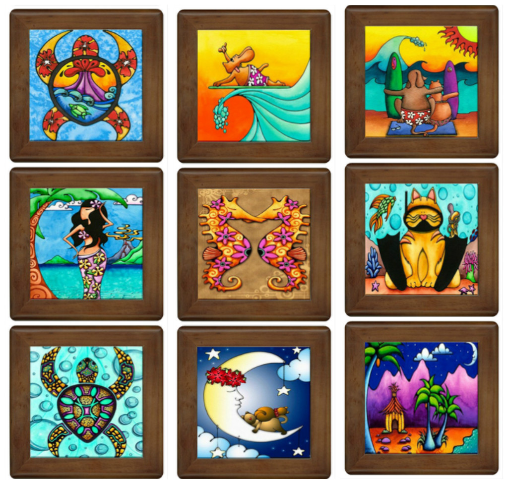 Holly kitaura art hawaiian ceramic art tiles the frame measures 55 x 55 tile measures 425 x 425 these will be sent out to several galleries around oahu for the upcoming holiday season dailygadgetfo Images