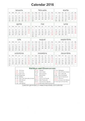 Calendar 2016 pentru printat