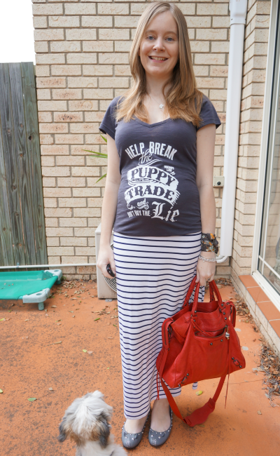 Oscar's Law Break the puppy trade don't buy the lie grey tee stripe maxi bal velo