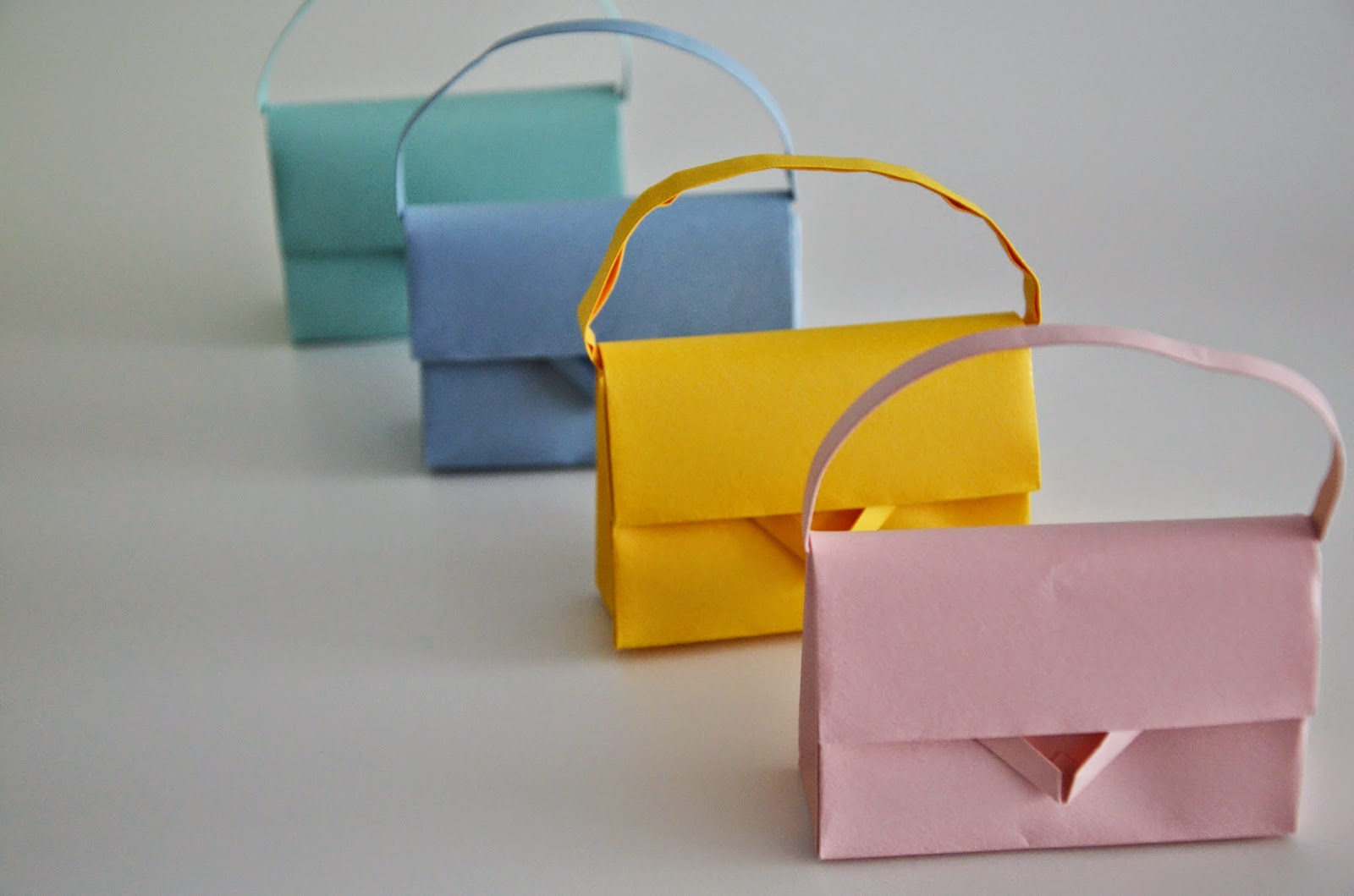 Handmade paper bags from origami