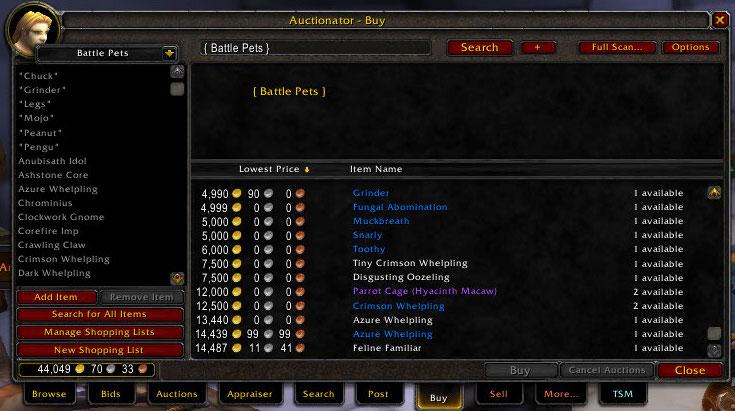 auctionator shopping list for battle pets