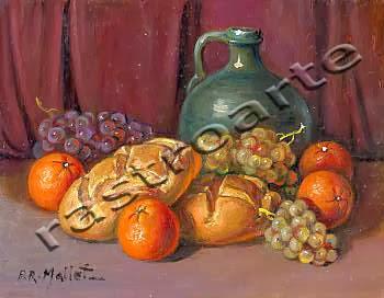 Bodegón con vasija vidriada, uvas, naranjas y panes